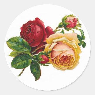 Red & Yellow Roses Round Sticker