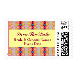 red yellow save the date postage