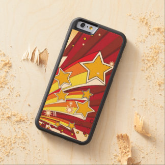 Red Yellow Shooting Stars Carved Maple iPhone 6 Bumper Case