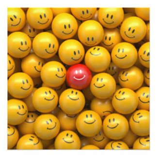 Red Yellow Smiley Faces Pattern Design Photo Print