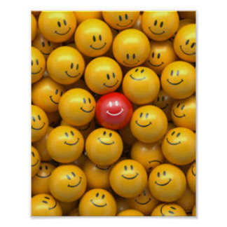 Red Yellow Smiley Faces Pattern Design Poster