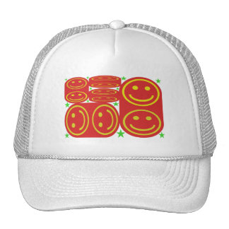 Red,Yellow Smiley's and Green Stars Trucker Hat
