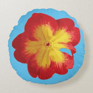 Red & Yellow Spring Primrose Flower Round Pillow