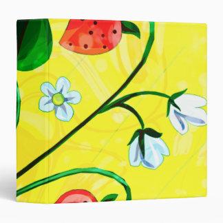 Red & Yellow Springtime Strawberry Flowers Vinyl Binders