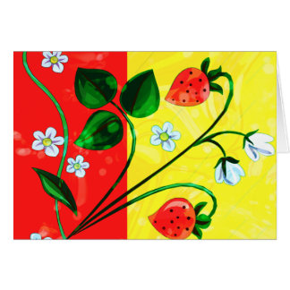 Red & Yellow Springtime Strawberry Flowers Greeting Cards