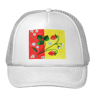 Red & Yellow Springtime Strawberry Flowers Trucker Hats