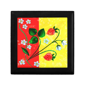 Red & Yellow Springtime Strawberry Flowers Jewelry Box