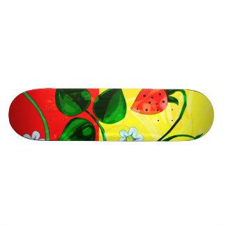 Red & Yellow Springtime Strawberry Flowers Skate Decks