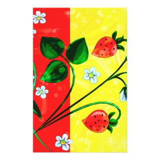 Red & Yellow Springtime Strawberry Flowers Stationery