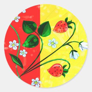 Red & Yellow Springtime Strawberry Flowers Sticker