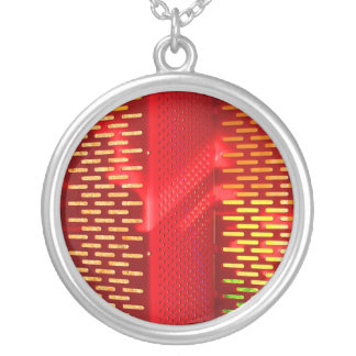 Red Yellow Stairs Abstract Saturated copy Round Pendant Necklace