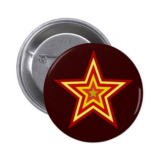 Red Yellow Star 2 Inch Round Button