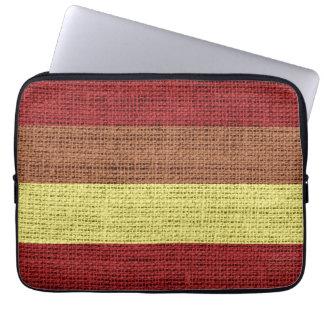 Red & Yellow Stripes Burlap Rustic Jute Laptop Sleeves