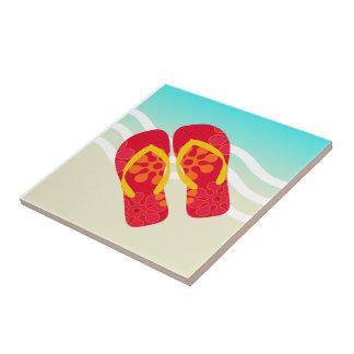 Red Yellow Summer Beach Flip Flops Ceramic Tile