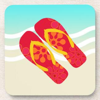 Red Yellow Summer Beach Flip Flops Coasters
