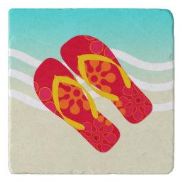 Red Yellow Summer Beach Flip Flops Trivet