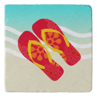 Red Yellow Summer Beach Flip Flops Trivet