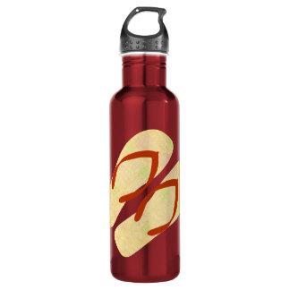 Red Yellow  Summer Beach Theme Flip Flops Water Bottle