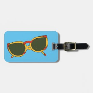 Red Yellow Sunglasses Blue Sky Luggage Tags