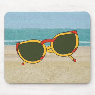 Red Yellow Sunglasses on Beach Mousepad