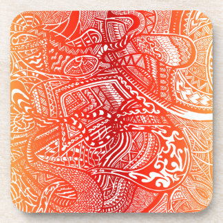 Red/Yellow Sunset Hand-drawn Crazy Tribal Doodle Coaster