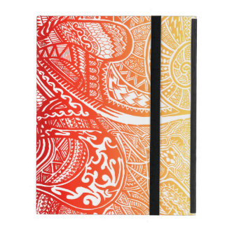 Red/Yellow Sunset Hand-drawn Crazy Tribal Doodle iPad Folio Case