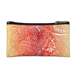 Red/Yellow Sunset Hand-drawn Crazy Tribal Doodle Makeup Bag