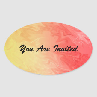 Red yellow texture design oval sticker