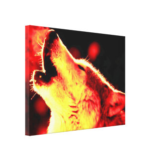 Red Yellow Tones Grey Wolf Wrapped Canvas