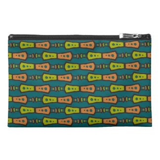 Red, Yellow Tribal on Teal: Travel Accessories Bag