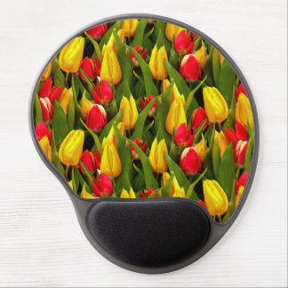 Red Yellow Tulip Flowers Photo Pattern Gel Mouse Pad