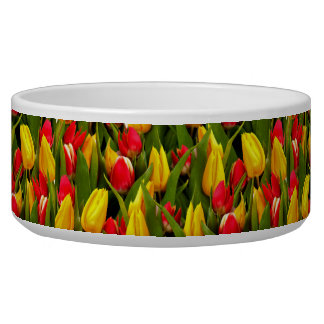 Red Yellow Tulip Flowers Photo Pattern Dog Food Bowl