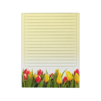 Red Yellow Tulip Flowers Yellow Background Lined Memo Pad