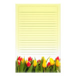 Red Yellow Tulip Flowers Yellow Background Lined Stationery