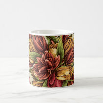 Red yellow Tulips Bouquet Pattern Coffee Mug