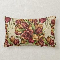 Red yellow Tulips Bouquet Pattern Lumbar Pillow