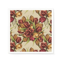 Red yellow Tulips Bouquet Pattern Paper Napkin