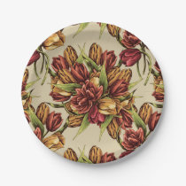 Red yellow Tulips Bouquet Pattern Paper Plate