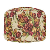 Red yellow Tulips Bouquet Pattern Pouf