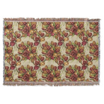 Red yellow Tulips Bouquet Pattern Throw
