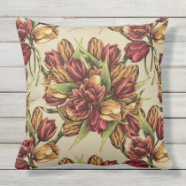 Red yellow Tulips Bouquet Pattern Throw Pillow