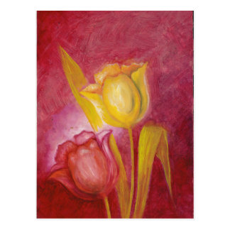 Red & Yellow Tulips Floral Art Cards