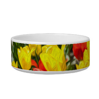 Red & Yellow Tulips Pet Food Bowls
