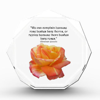 Red Yellow Variegated Rose and Thorn Quote Acrylic Award