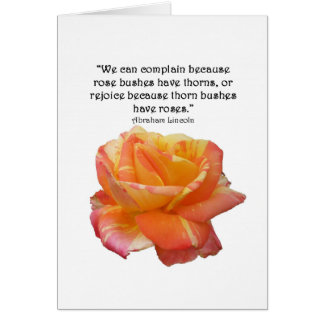 Red Yellow Variegated Rose and Thorn Quote Card