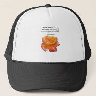 Red Yellow Variegated Rose and Thorn Quote Trucker Hat