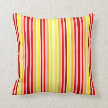 Beach Themed Red & Yellow Vertical Striped Accent Throw Pillow