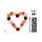 Red yellow white pink rose heart floral stamps