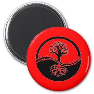 Red yin and yang symbol refrigerator magnets