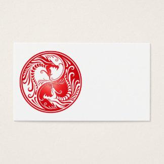 Red Yin Yang Dragons Business Card